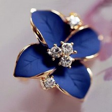 Blue Flower Stud Earrings Ladies Elegant Gold Rhinestone Pierced Brinco Women Jewelry Gift Fashion