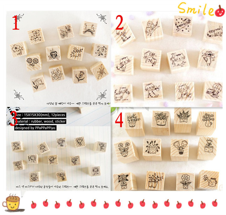 Pinkinahy Stationery Store 12 pcs/lot DIY Cute Cartoon Cats Flowers Girls Bonsai Wood Stamps for Kids Decor Diary Scrapbooking Gift Free shipping