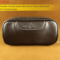 OLDFOX High Quality Durable Portable Smooth Leather Pipe Pouch Case Bag For 2 Smoking Pipes With