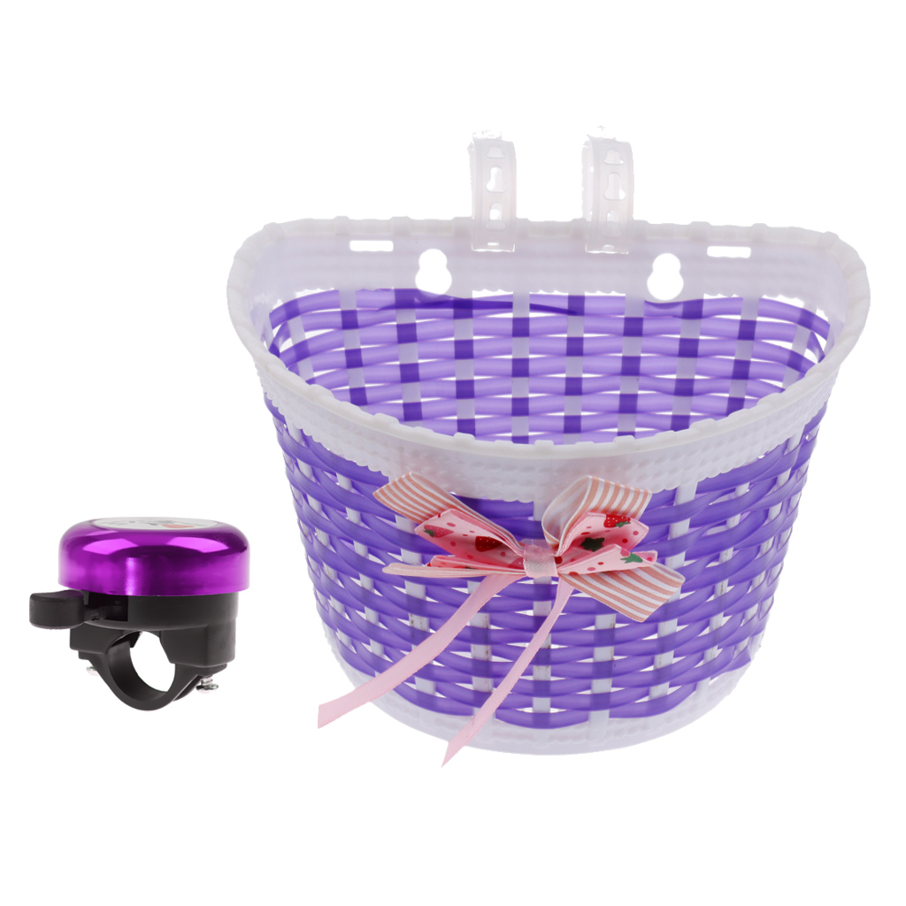 Kids Bicycle Bike Cute Cycle Bell + Bike Bowknot Front Basket Cycle Shopping Stabilizers Bike Accessories