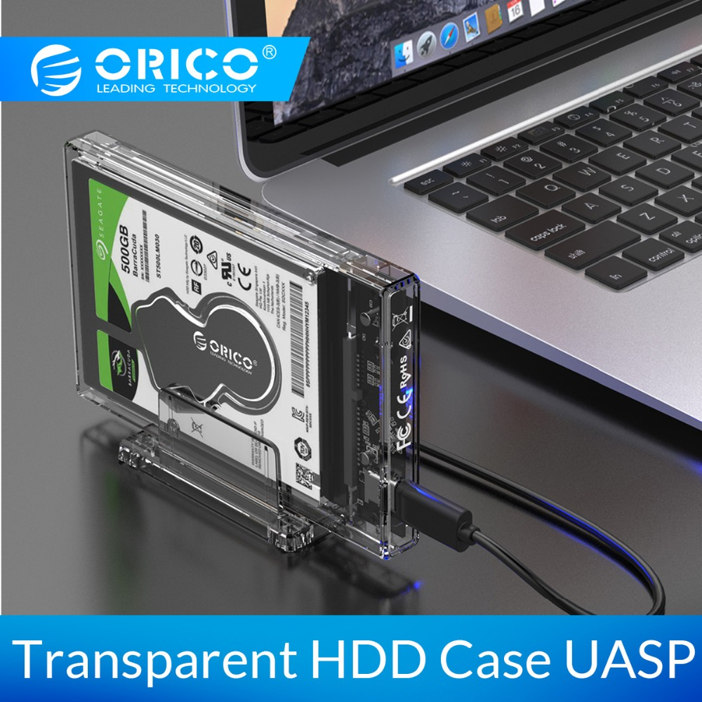 ORICO HDD Case 2.5 Inch Transparent USB3.0 Hard Drive Enclosure With Stand 5Gbps USB C Hard Drive Case 10Gbps Support UASP