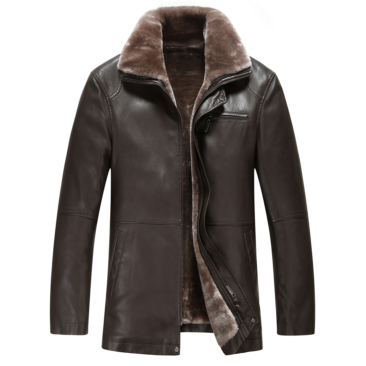Kaister Jacket Women Leather Lapel Suede Faux Lamb Wool Motorcycle Buckle Cool Pilot Coats