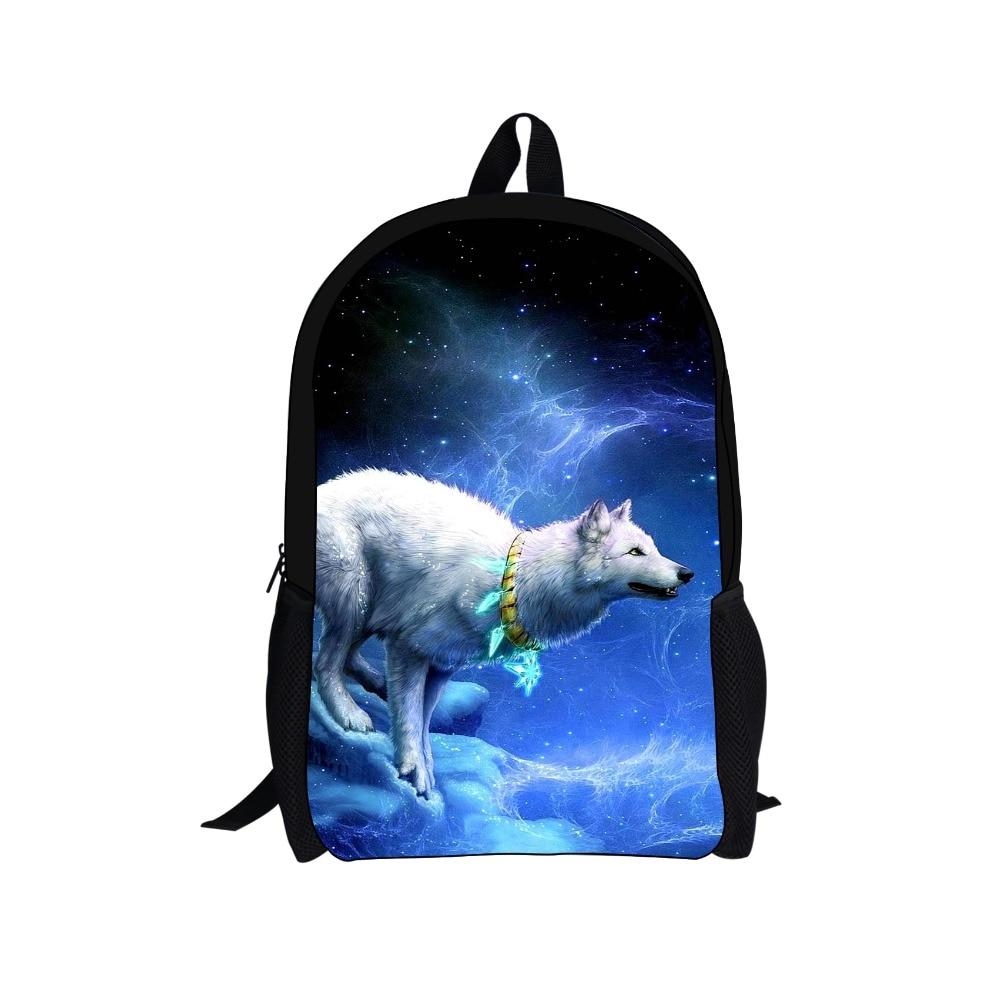FORUDESIGNS Children 3D Animal Felt Backpack Wolf Horse Print Men's Backpack For School Boys Teenager Student Bagpack Mochila