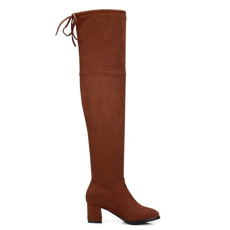 WETKISS Kalın Yüksek Topuklu Akın Kadın Çizme Streç Bayan Uzun Diz Çizme Moda kadın ayakkabısı Sonbahar Kadın Büyük Boy 34-43
