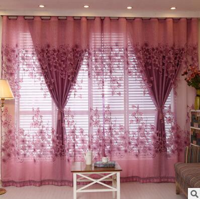 FYFUYOUFY Upmarket žakárová opona Obývací pokoj vyhoření voile opona estetický květinový stínování látková opona francouzské okno