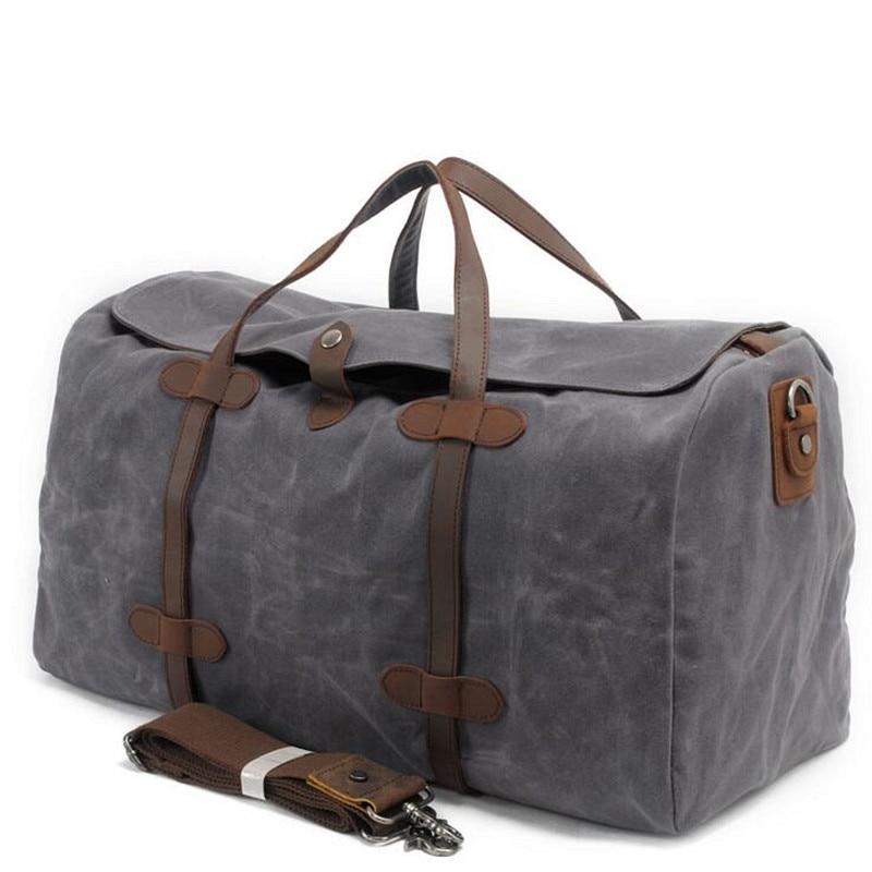 Vintage Wax Printing Canvas Leather Women Travel Bags Luggage Bags Men Duffel Bags Travel Tote Large Weekend Bag Ov