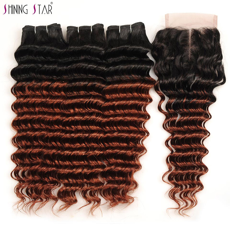 Brazilian 3 Ombre Deep Wave Bundles With Closure 1B 33 Red Brown Human Hair Weave Bundle