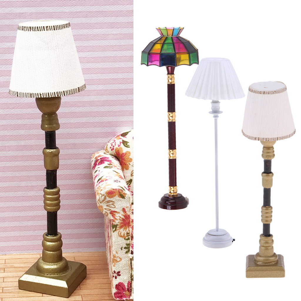1:12 Dollhouse Miniature LED Light Floor Lamp Battery Operated 4.4/'/' Height New