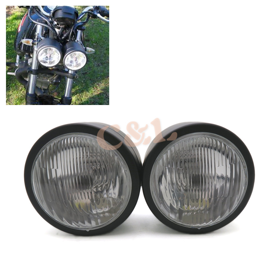 1 Set Black Twin Headlight Motorcycle Double Dual Lamp -6008