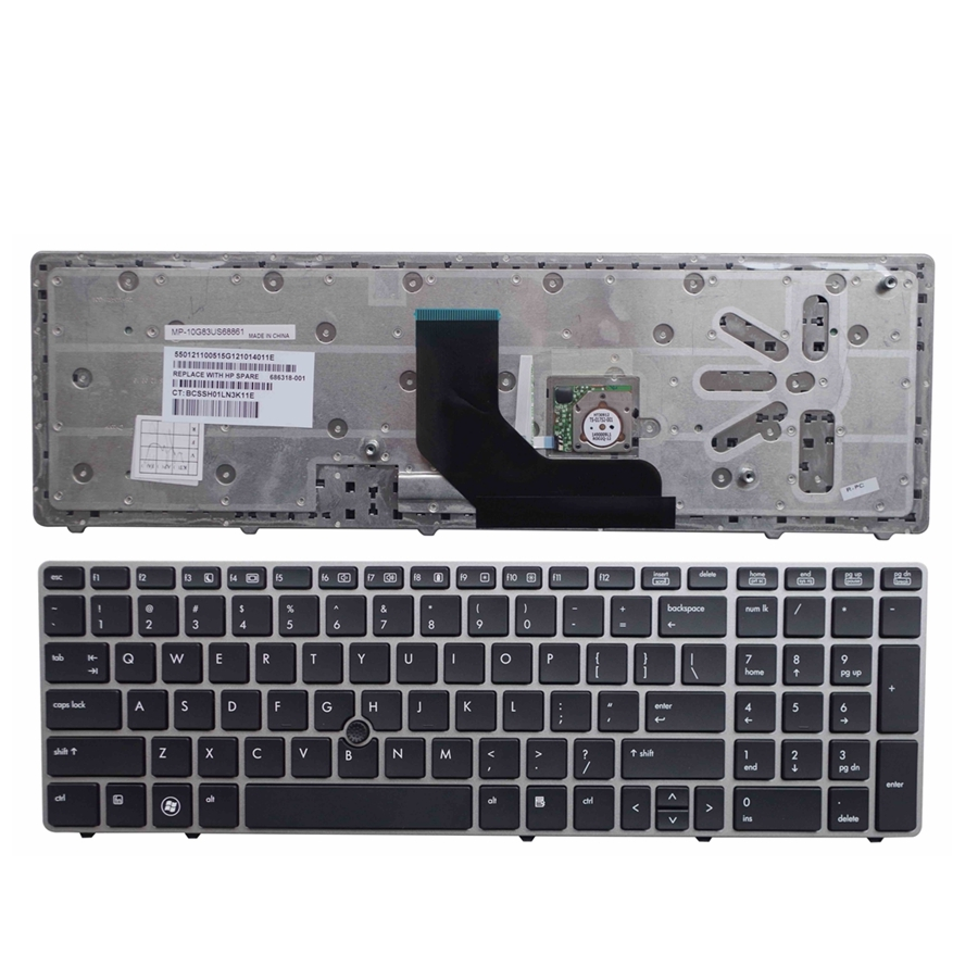 US silver New English laptop keyboard FOR HP for EliteBook 8560p 8570P 8560B 6560b 6565b With pointing sticks