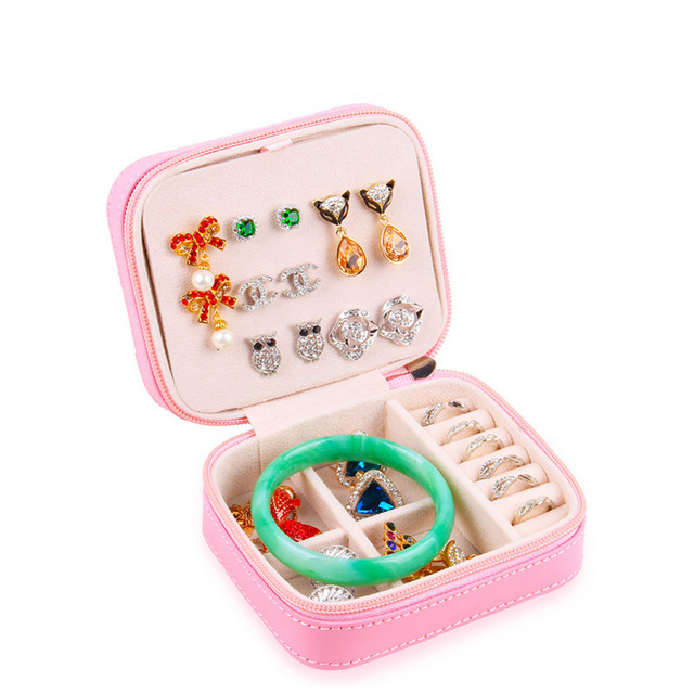 Small Size Portable Zipper Jewelry Carrying Case Necklace Bracelet