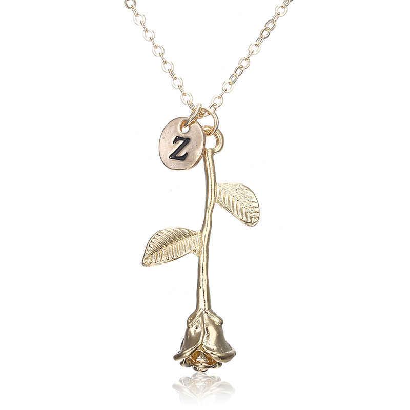 Gravieren Gold Münze Choker Halskette 26 Brief Personalisierte Erste Halskette Name Rose Halskette Anhänger Für Frau Zubehör x146