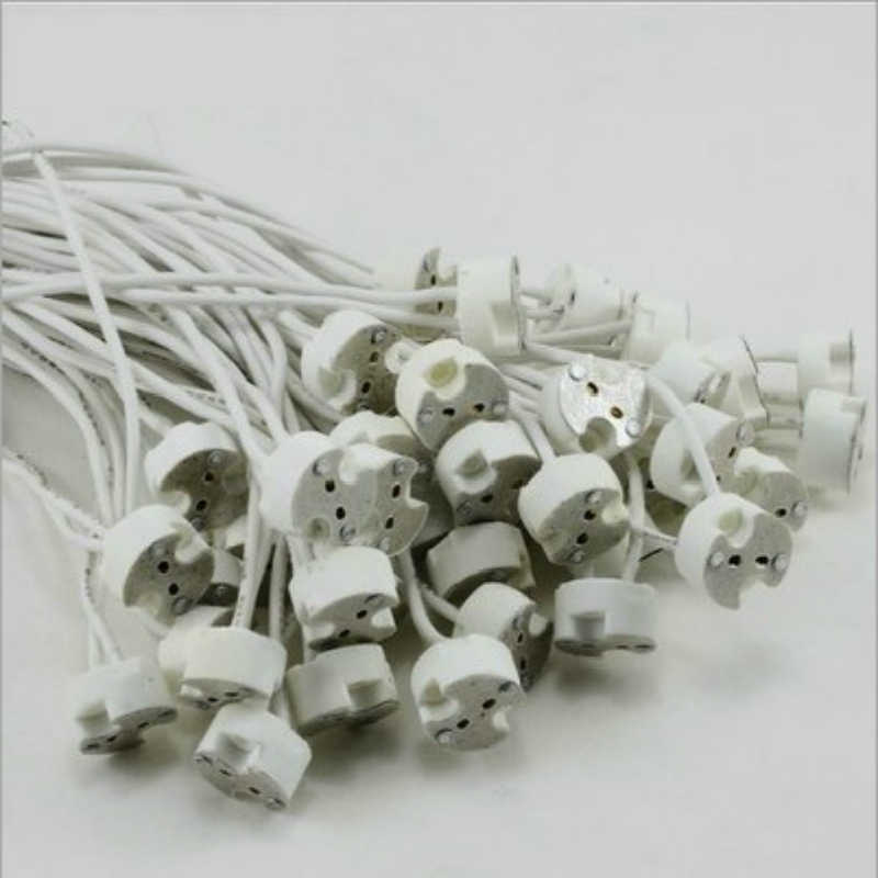 1PC LED Strip Connector Lamp Socket GU10 Base LED Spotlights Holders Ceramic Version Wire For aging lamp holder Silicone Line