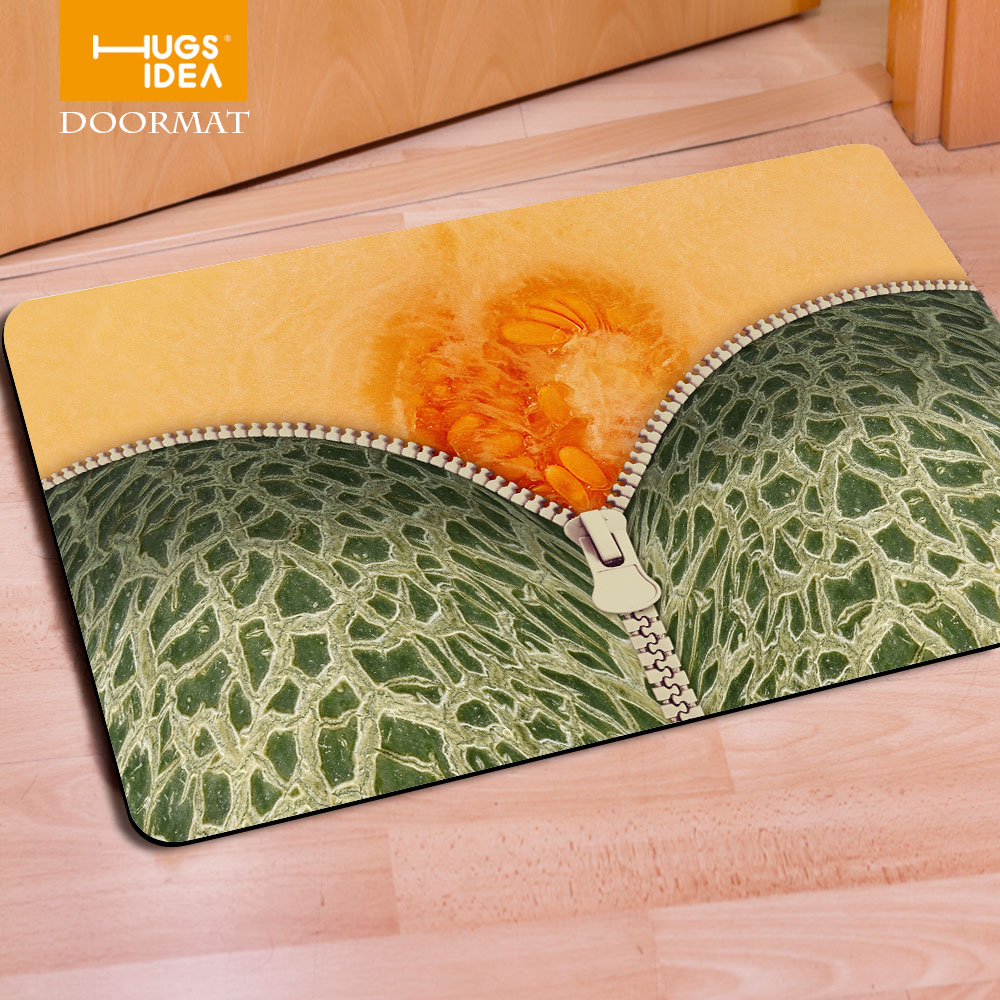 Rubber floor mats bathroom - Fruit Zipper Desgin Printing Rubber Felt Thin Home Floor Carpets Cartoon Bear Lovely Stylish Doormat For