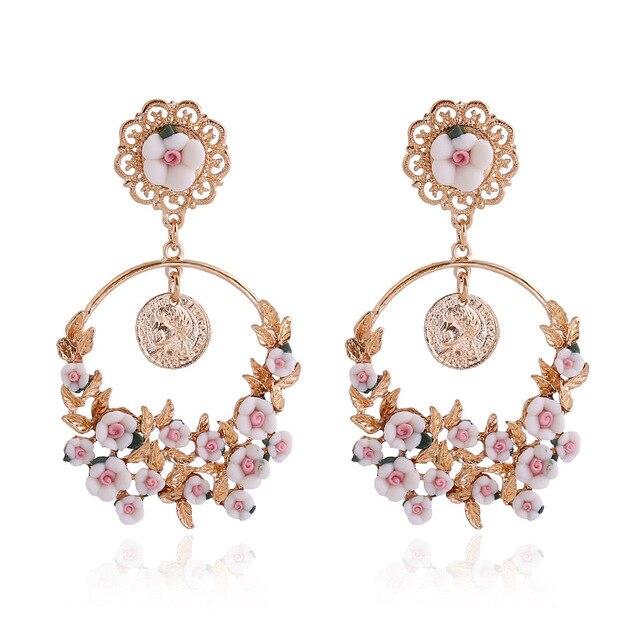 Les Nereides Bohemian Catwalk Models Baroque Palace Beauty Head Pierced Flower Earrings For Women Jewelry Factory