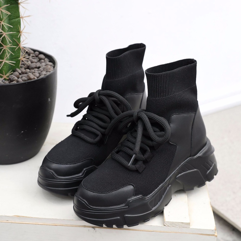 High Femmes Casual Respirant Noir Sneakers Hauteur Plate Top Chaussures Qualité Md Haute Croissante 63 Feminino Mode Tenis forme xFwnIrvFT