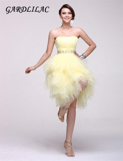 3fc3db0e368 2017 real image robe de bal courte robe de soirée jaune sans manches robe  avec des