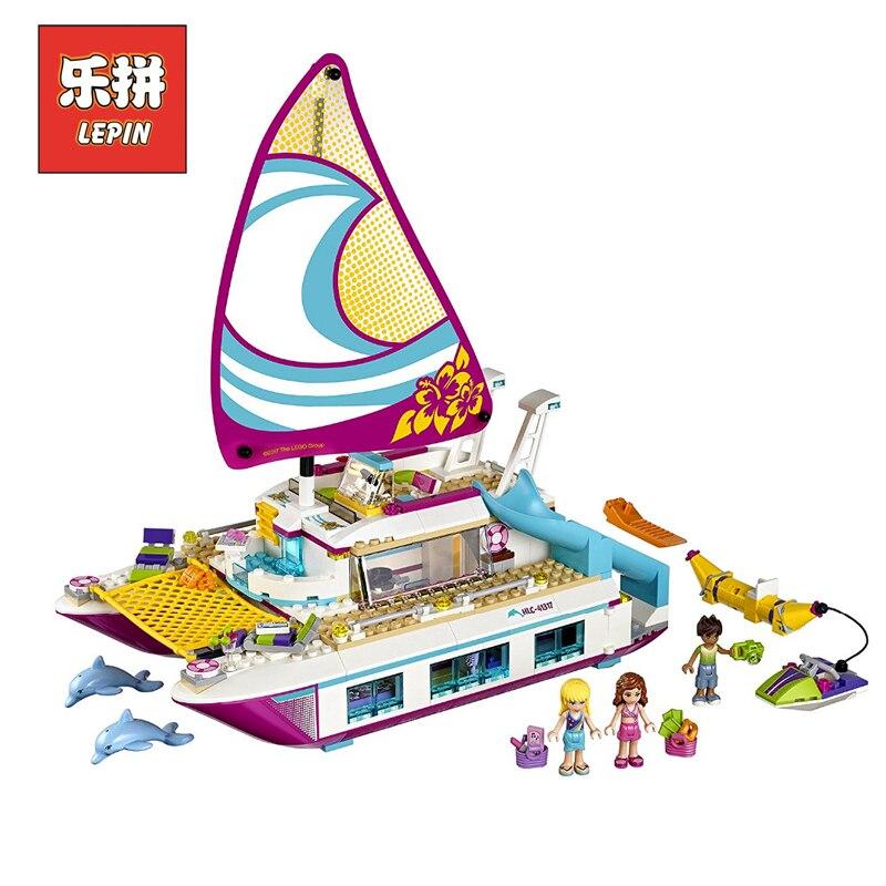 Лепин комплекты 01038 651 шт. друзья цифры солнце катамаран модель корабля строительство Наборы блоки кирпичи девушка игрушка в подарок Совмес... ...
