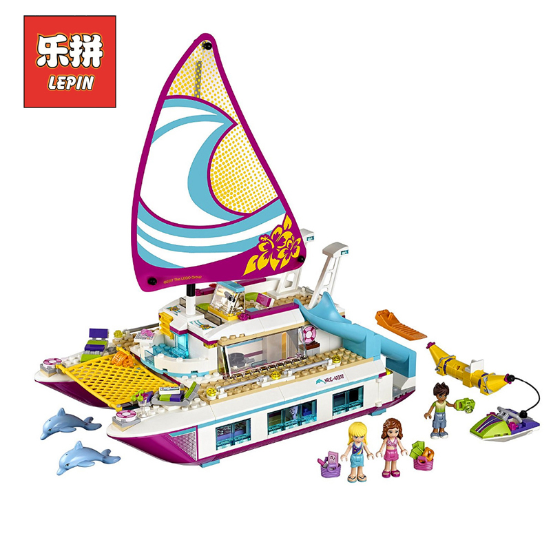 Lepin Sets 01038 651Pcs Friends Figures Sunshine Catamaran Ship Model Building Kits Blocks Bricks Girl Toy Gift Compatible 41317