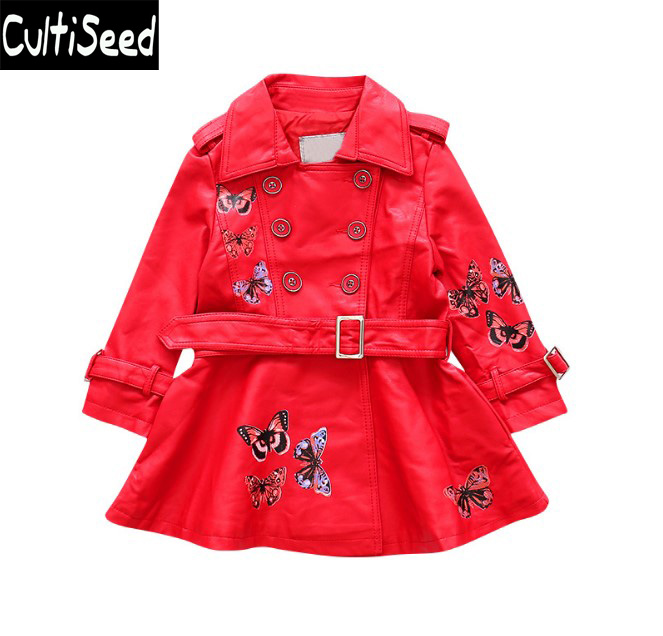 Girls PU Leather Trench Coats Baby Children Turn Down Collar Buttery Print Double Breasted Leather Trench Outerwear with Belt fruit print single breasted kimono