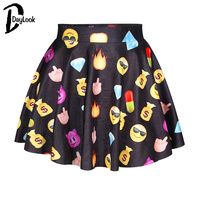 Daylook Women New Fashion White Black Yummy Food Print Elastic Waist Skater Skirt