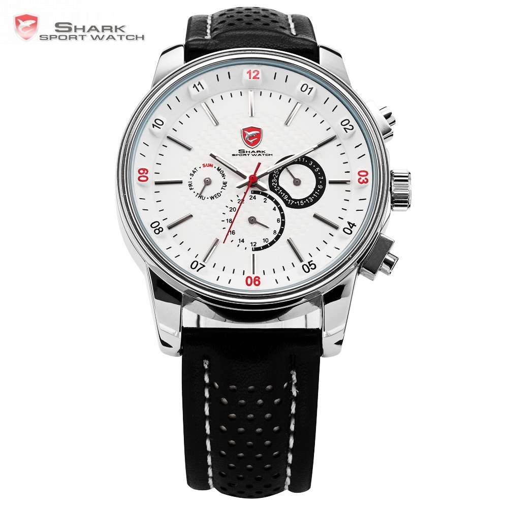 где купить Pacific Angel Shark Sport Watch Men's White Date Day Fashion Casual Men Wristwatch Black Leather Strap Quartz Clock Male / SH093 по лучшей цене