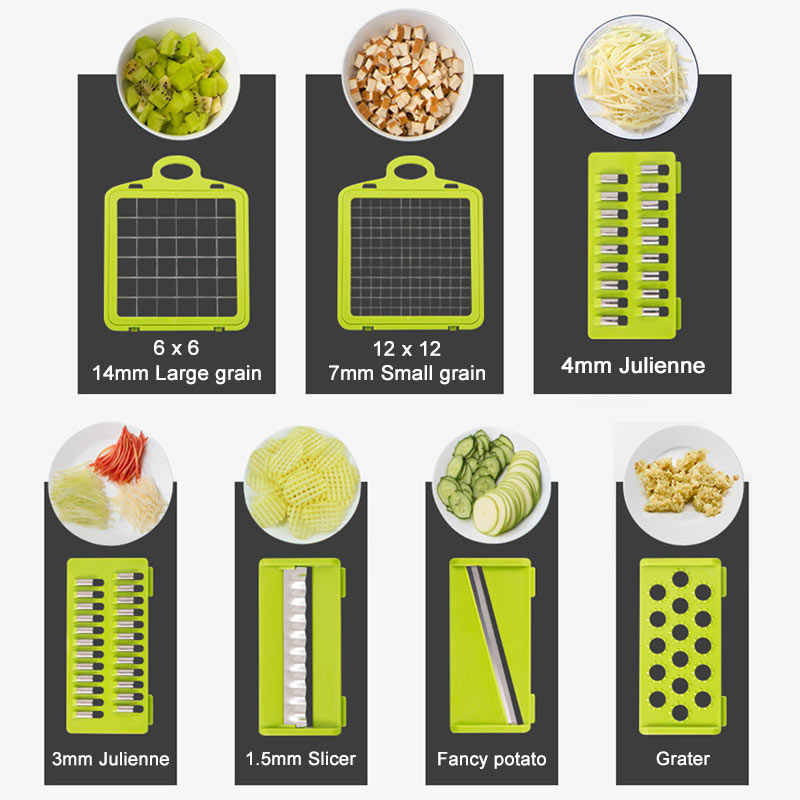 8In1Multifunctional Gemüse Cutter Kartoffel Slicer Karotte Reibe Küche Zubehör Gadgets Stahl Klinge Küche Werkzeug овощерезка