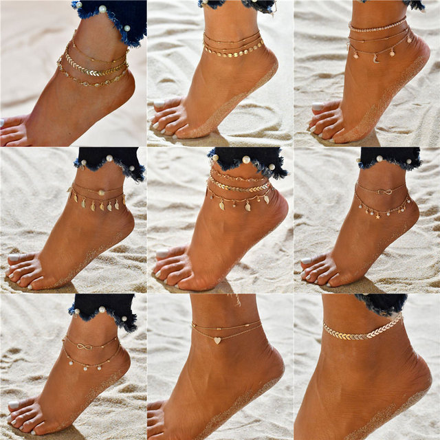 Modyle Vintage Beach Foot Anklet For Women Bohemian Female Anklets Summer Bracelet On the leg Jewelry 1