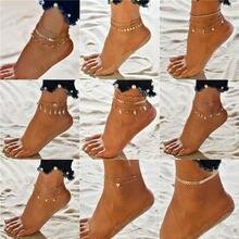 Modyle vintage praia pé anklet para as mulheres boêmio feminino tornozeleiras pulseira de verão na perna jóias