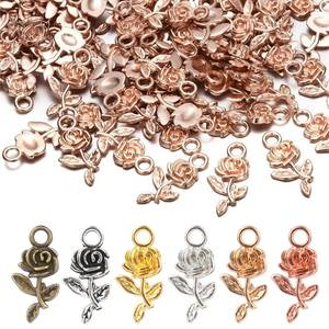 Jewelry-Making Earrings Necklace Craft-Accessories Pendant Beads Charm Rose-Flower Silver