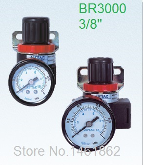 BR3000 3/8 Pneumatic Air Source Treatment Air Control Compressor Pressure Relief Regulating Regulator Valve with pressure gauge