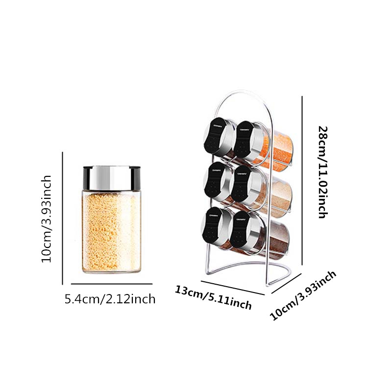 7 Pcs Set Glass Kitchenware Multi Purpose Spice Tins Solid Jar Set with Stickers Pepper Shakers Salt Pepper Set Seasoning Sprays in Salt Pigs Cellars Servers from Home Garden