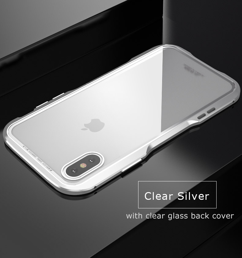 For iPhone X Magnetic Adsorption Cases Shockproof Metal Bumper (10)
