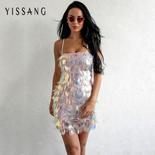 d5fe6d5edbf Yissang Элегантное Вечерние вечернее женское платье с пайетками сексуальное  летнее мини-платье без рукавов с