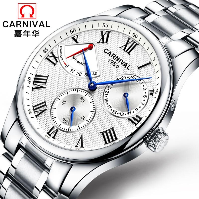 Carnival Brand Energy display kwaliteit automatische mechanische horloges Mannen militaire luxe volledig stalen waterdichte horloge uhren klok