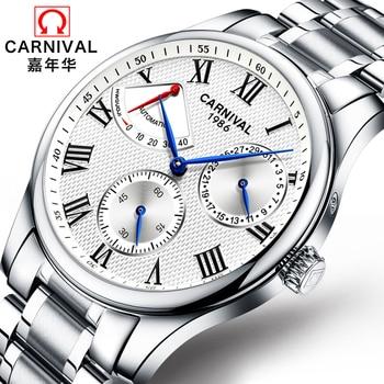 Carnival Energy display Switzerland Top Brand mechanical Watches Men military Luxury full steel Waterproof men Watch clock reloj