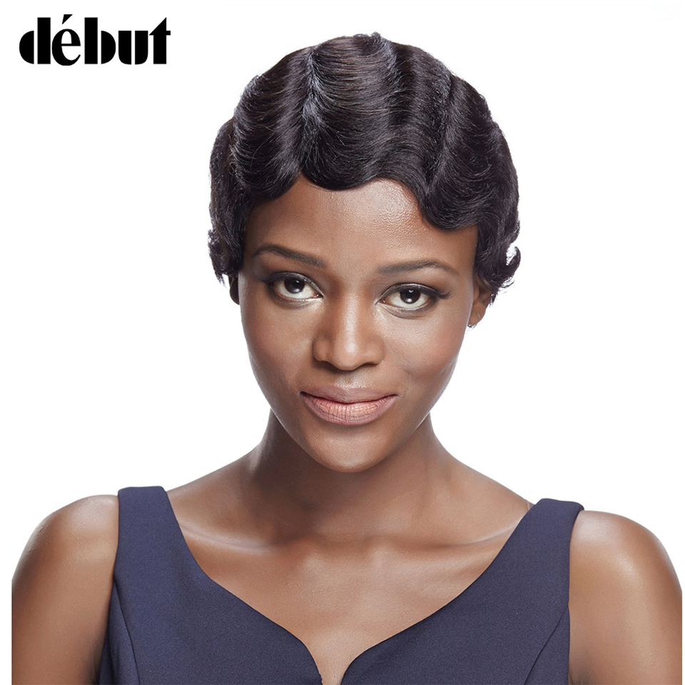 Debut Human Hair Wigs Brazilian Remy Hair Short Wavy Wave Wigs For Black Women Short Pixie Cut Wig Human Hair Short Bob Wigs
