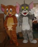 Высокое качество взрослый размер Том кошка и Джерри мыши талисман костюм Том и Джерри талисман костюм Бесплатная доставка