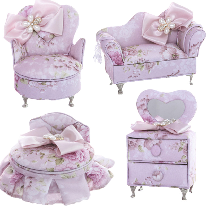 CXZYKING Mode Rose Arc canapé chaise poupée princesse boîte à bijoux Meubles Pour Maison de Poupées Jouets Pour Filles meilleurs cadeaux d'anniversaire