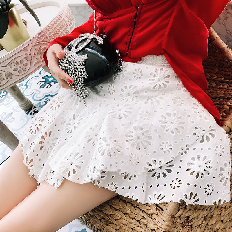 Runway Designer Skirts Women 2019 Summer White Hollow Out Embroidery Lace Skirt Korean Style Short Skirt Female