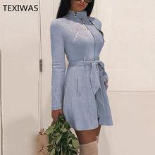 b80821ebe TEXIWAS de cuero de gamuza Chic Delgado cremallera Correa vendaje vestido  de las mujeres de la
