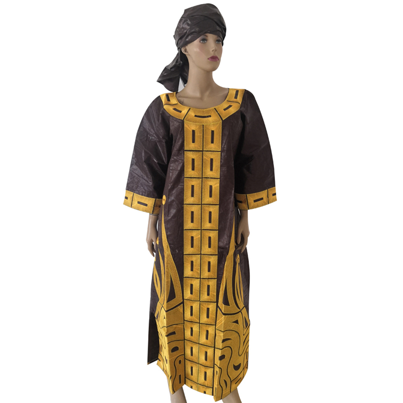 MD 2019 New Design Cotton African Clothes Bazin Riche Dress For Women Traditional Embroidery Dresses Turban African Women Sets