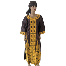 MD 2019 new design cotton african clothes bazin riche dress for women traditional embroidery dresses turban sets