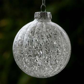 Diameter=10cm 12pcs/pack Striped Glass Christmas Ball with Inner Glass Chip Decorative Christmas Day Pendant