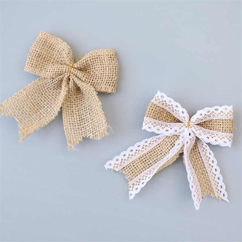 Vintage Natural Jute Burlap Lace Bows Ribbon Wedding Party Decoration Gift Box Packaging DIY Decoration Bowknot