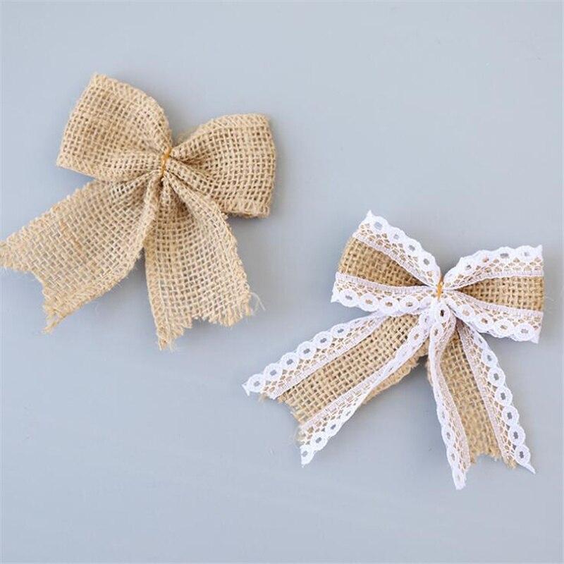 Vintage Natural Jute Burlap Lace Bows Ribbon Wedding Party Decoration Gift Box Packaging DIY Decoration Bowknot(China)