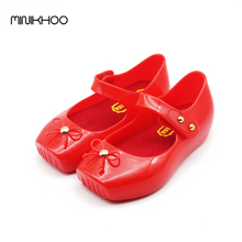 Mini Melissa Ballet Shoes Girls Sandals Jelly Shoes Bow Ballet Shoes Soft Comfort 3 Color High Quality Melissa Children Sandals