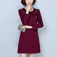 Black Wine Red Chinese Style Vintage Large Size Dress 2017 Long Sleeve Plus Velvet Winter Dresses