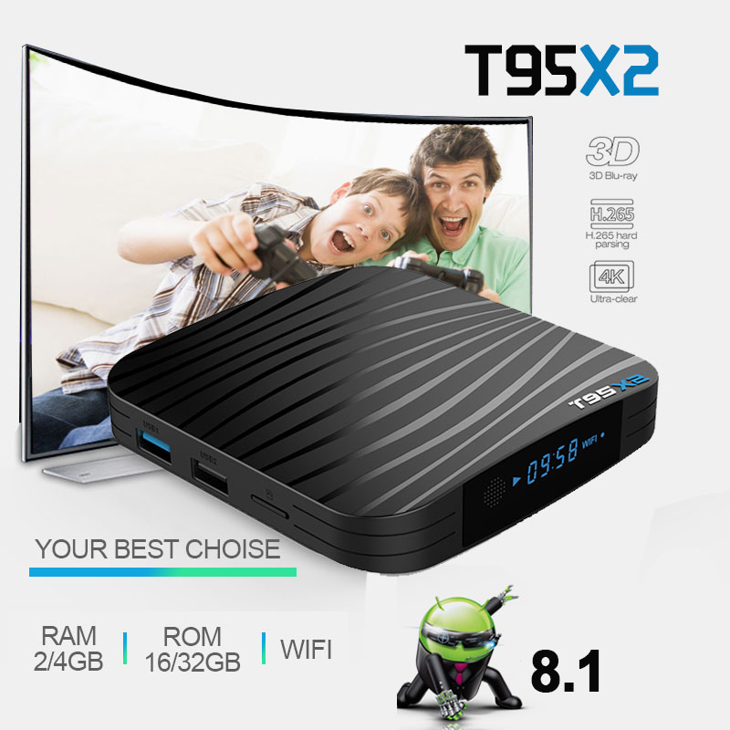 New T95X2 Android tv box android 8.1 S905X2 Quadcore cortex-A 2G/16GB 4G/32GB support 4K smart tv iptv box Media Player z69 android 6 0 2g 16gb 4k uhd smart tv box