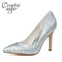 Creativesugar с острым носком металлик 3D Блеск золота, серебра Высокий каблук женские туфли-лодочки нейтральный Свадебная вечеринка выпускников ...